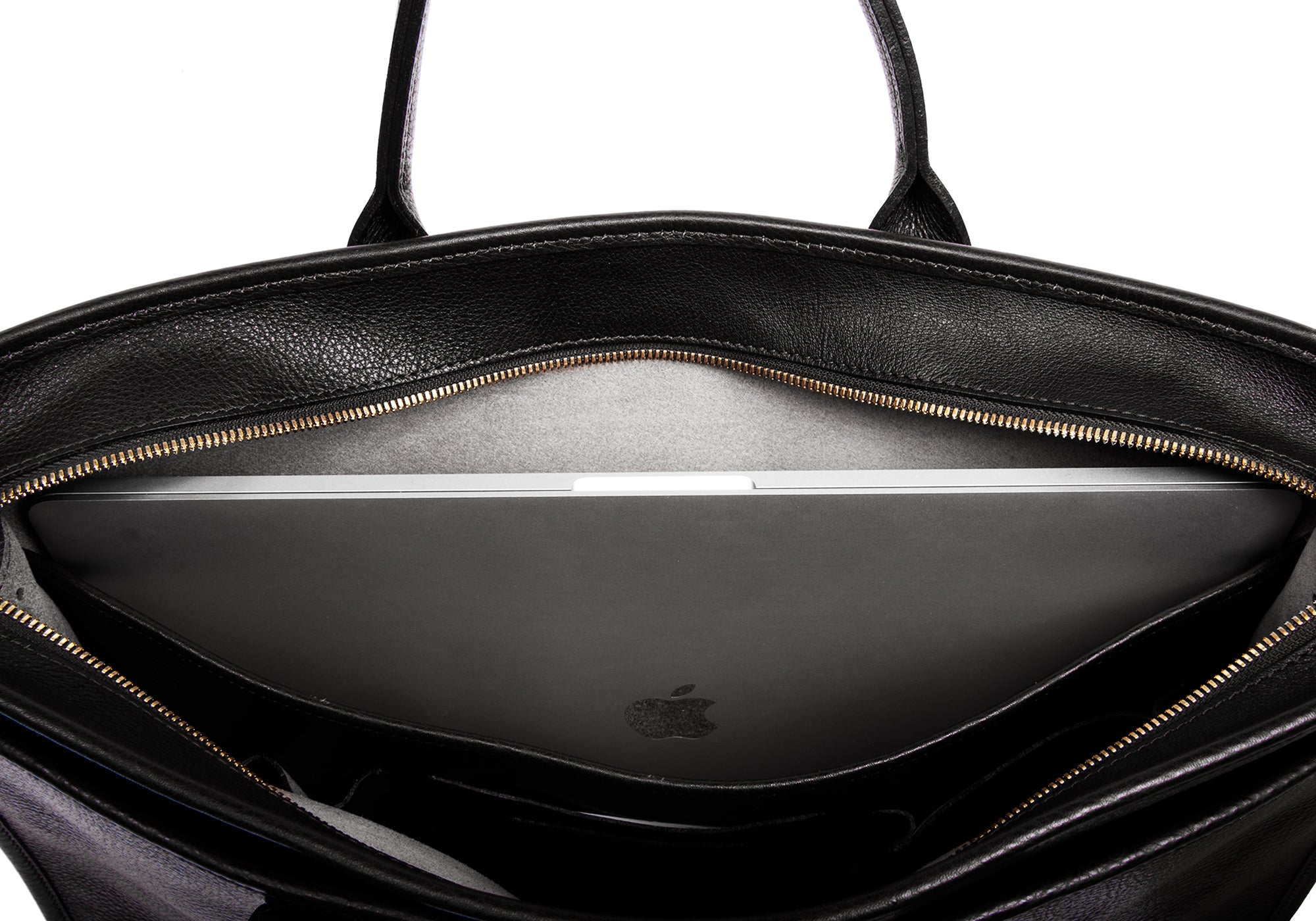 Leather Zip-Top Briefcase Black
