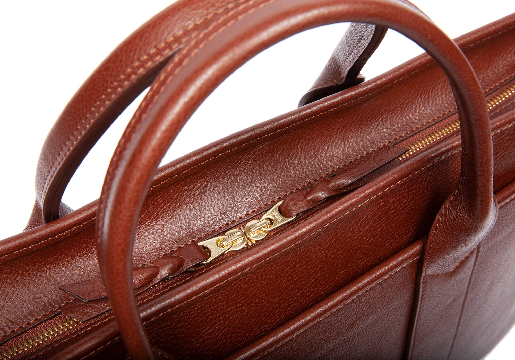 Leather Zip-Top Briefcase Chestnut