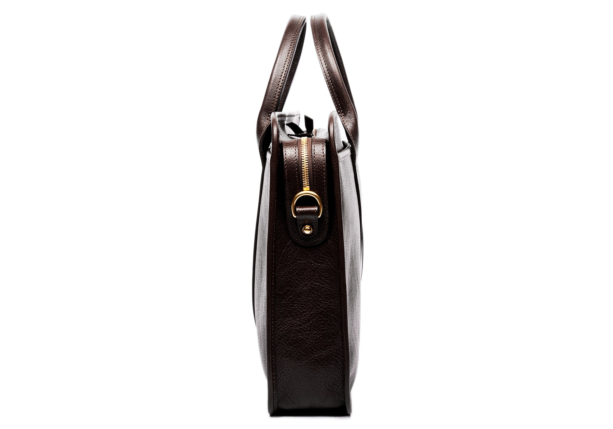 Leather Zip-Top Briefcase Chocolate