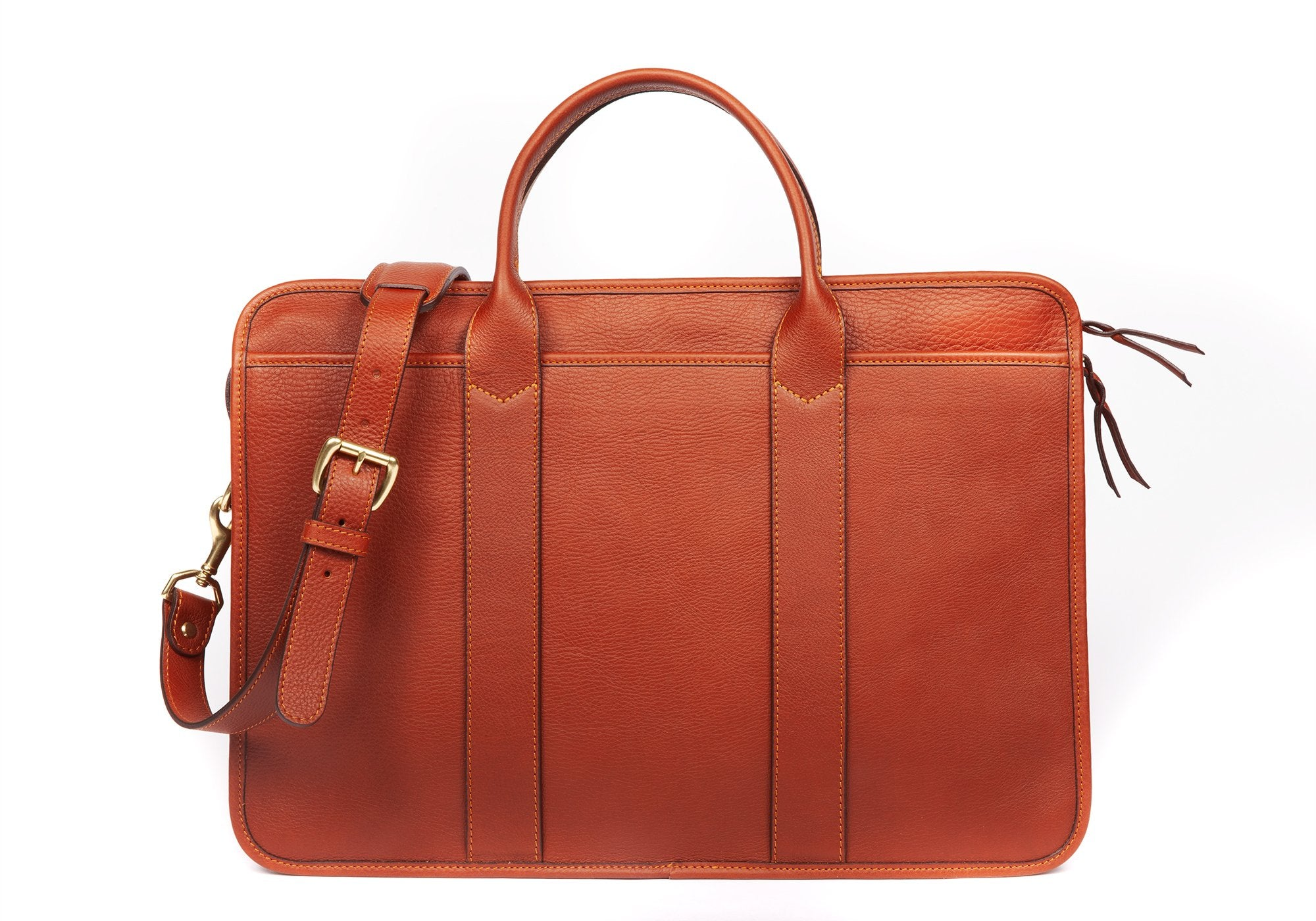 Leather Zip-Top Briefcase Saddle Tan