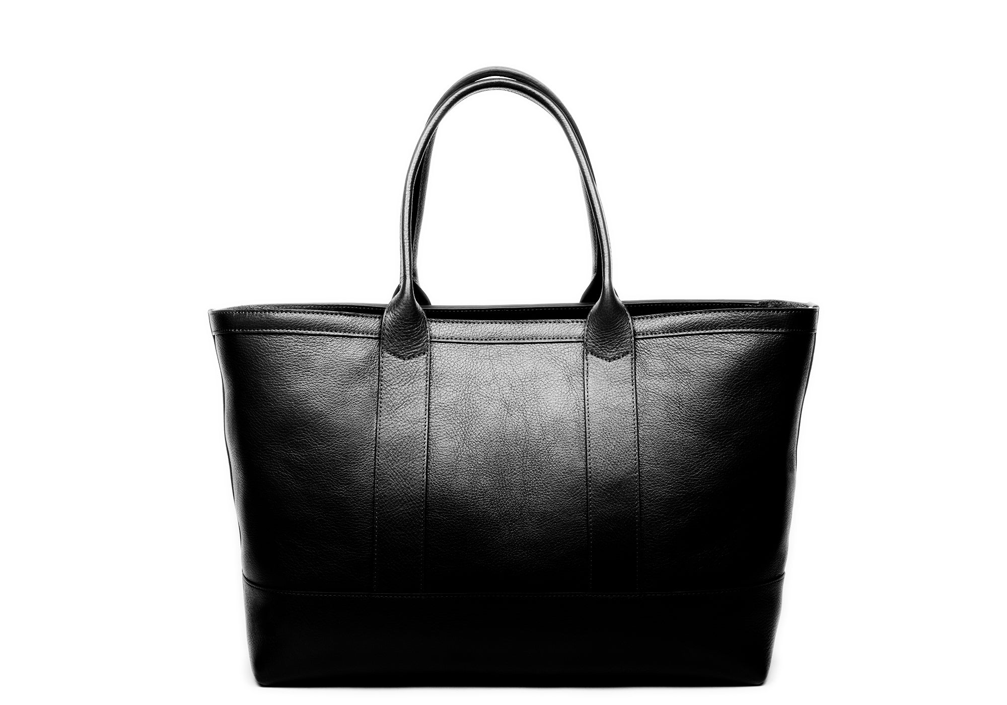Leather Zip-Top Medium Tote Black