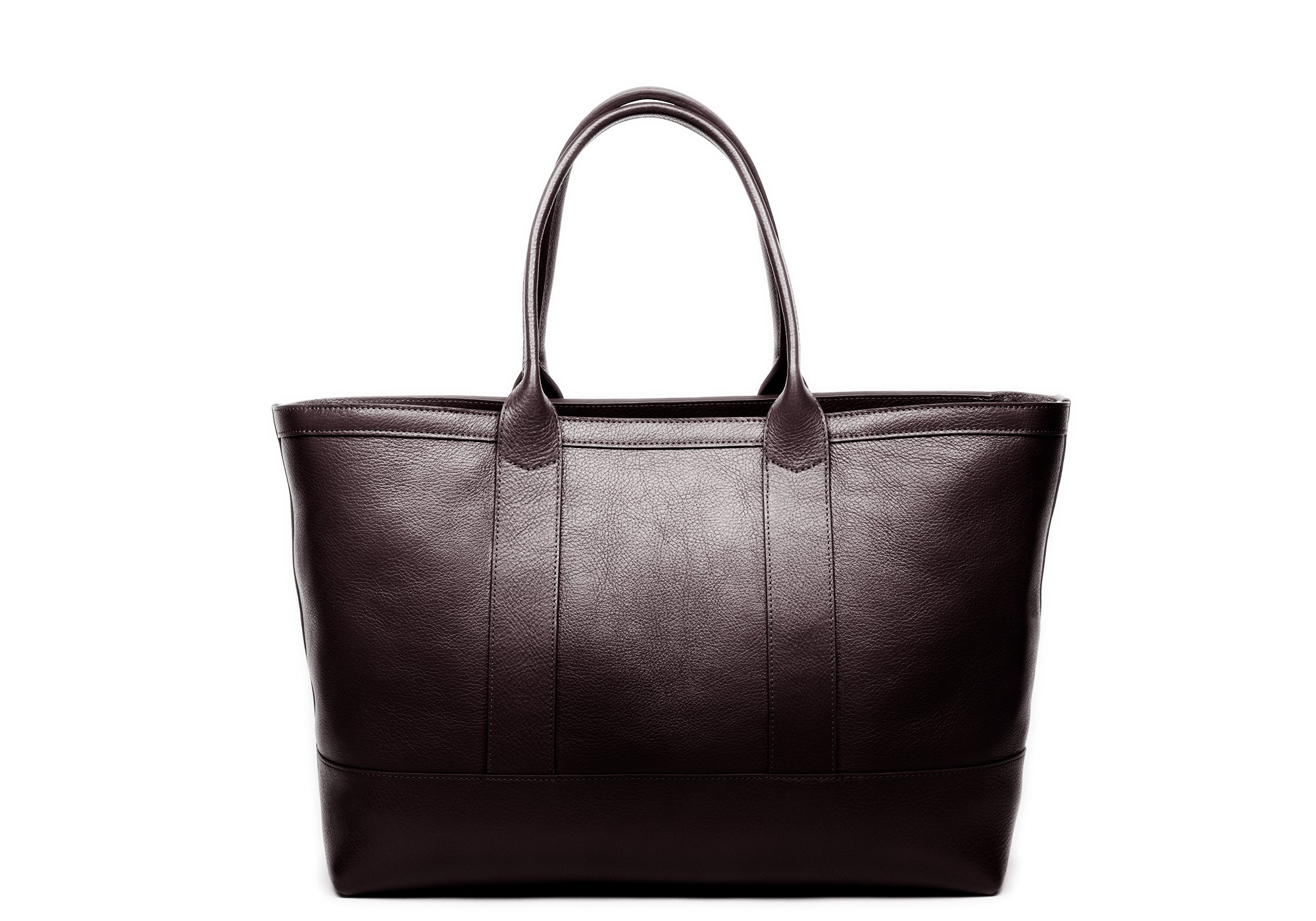 Leather Zip-Top Medium Tote Chocolate