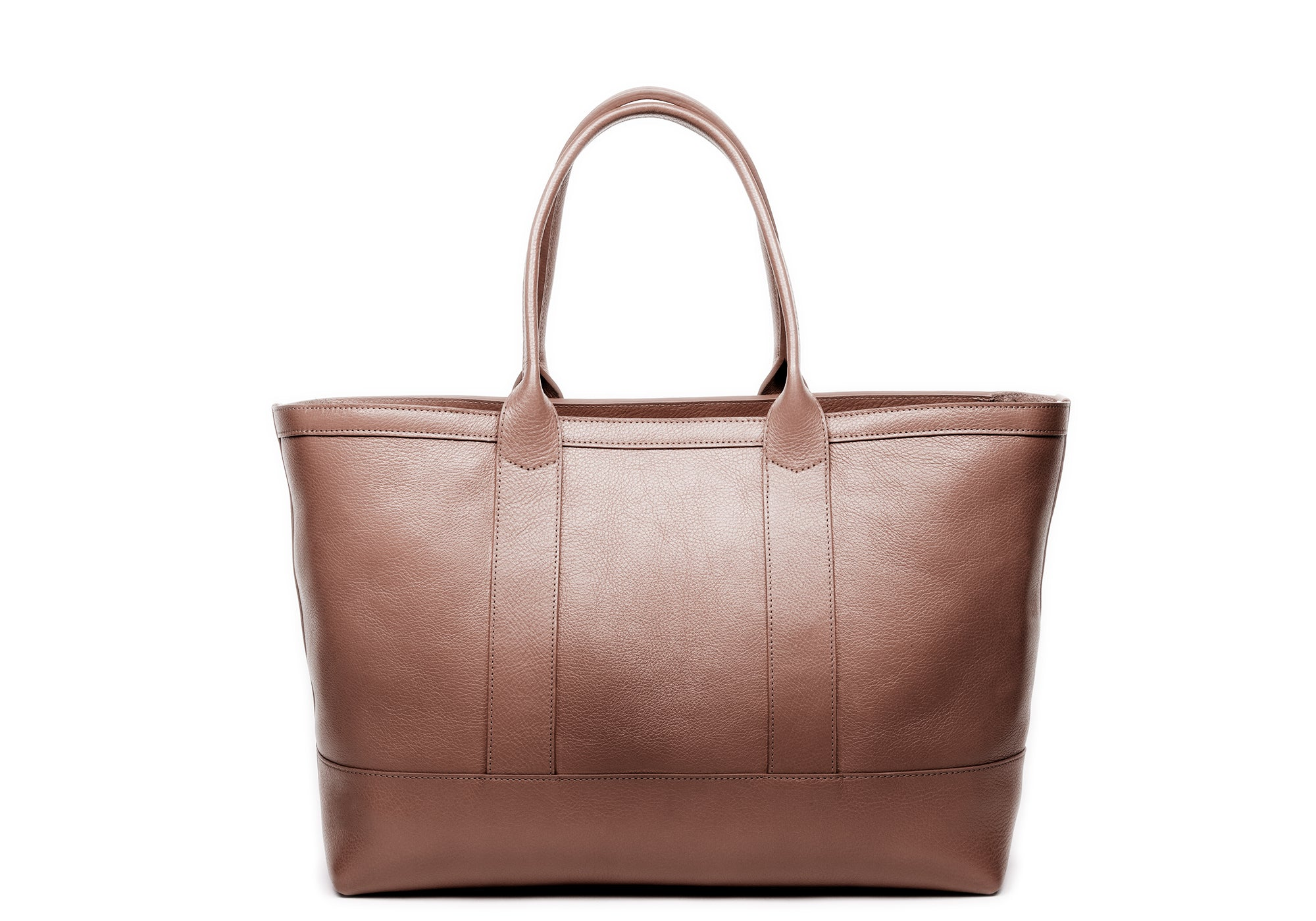 Leather Zip-Top Medium Tote Clay