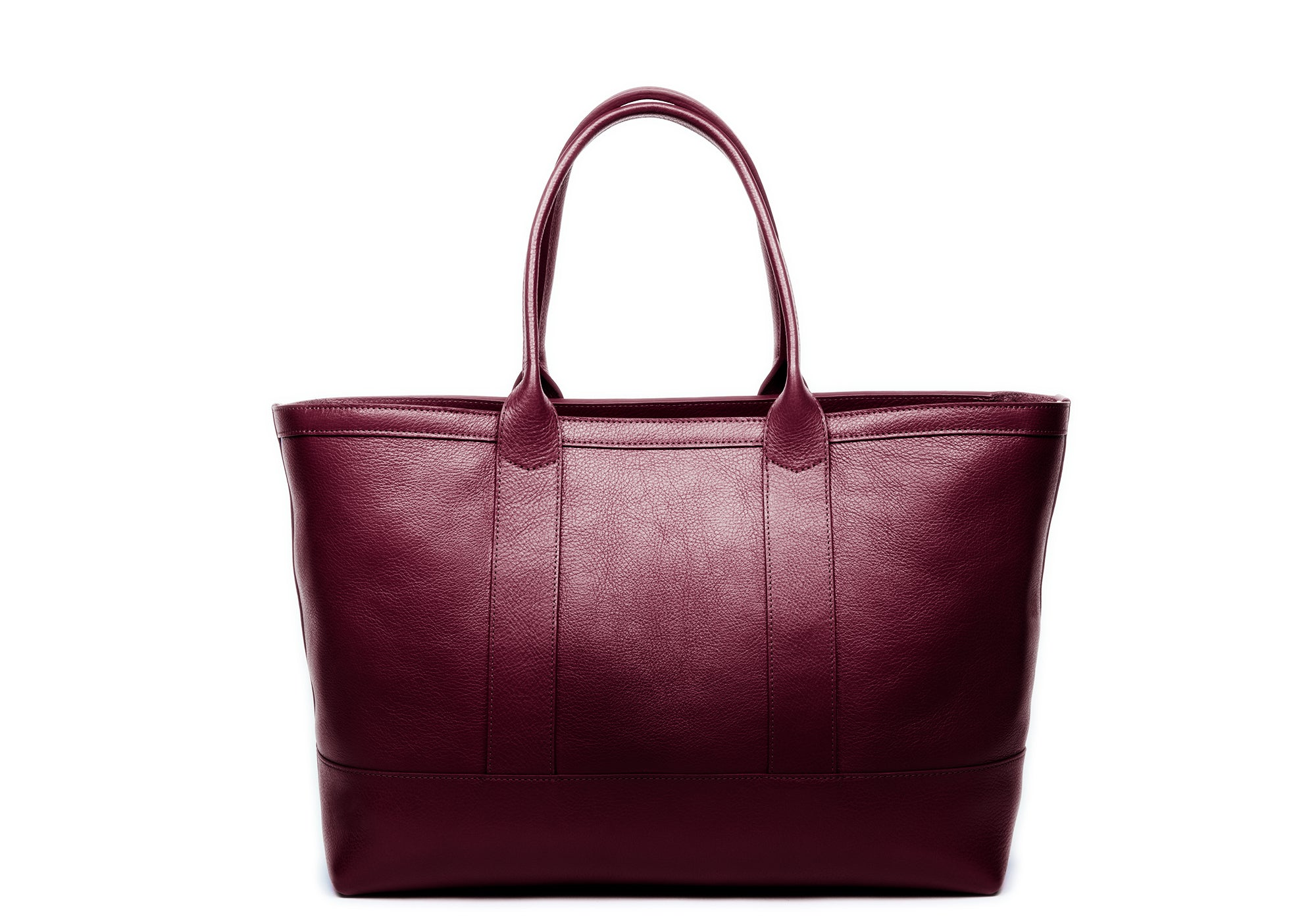 Leather Zip-Top Medium Tote Cordovan