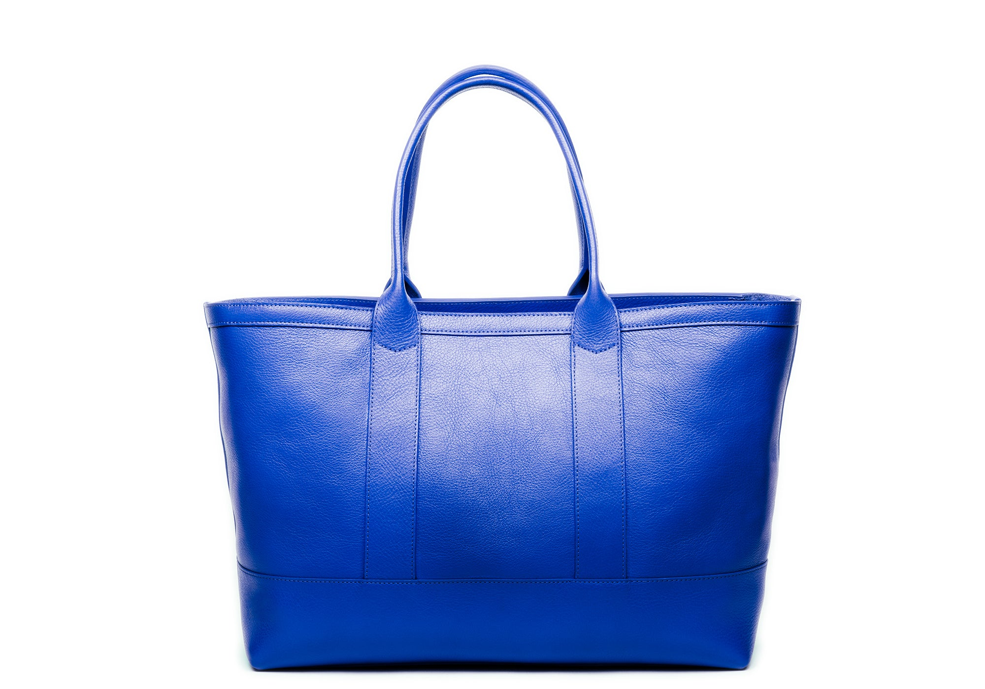 Leather Zip-Top Medium Tote Electric Blue