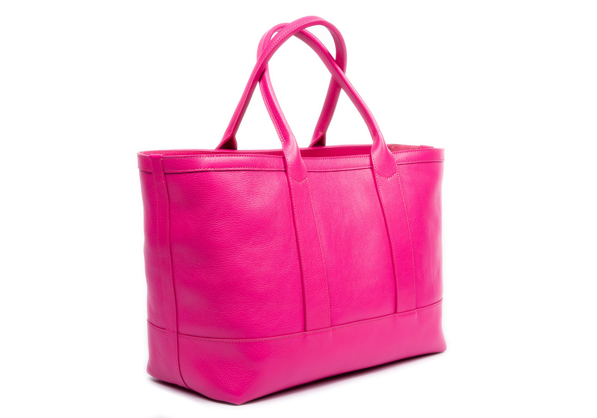 Medium Leather Tote Magenta