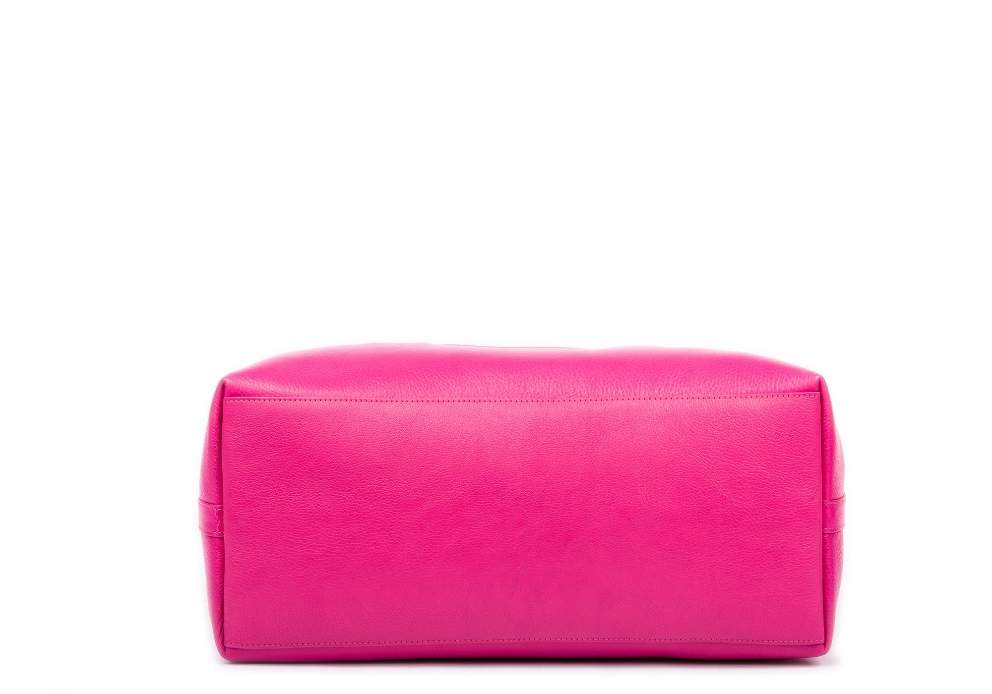 Leather Zip-Top Medium Tote Magenta