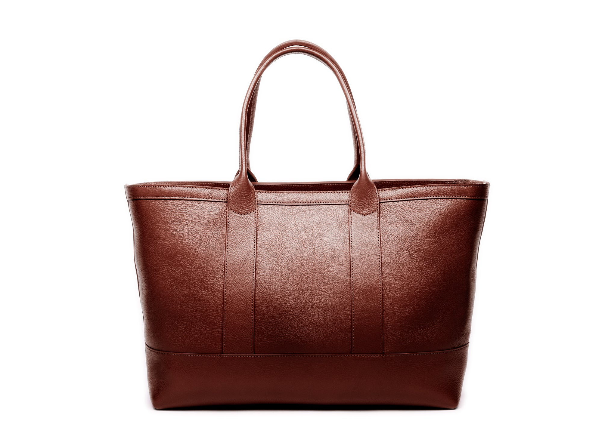 Leather Zip-Top Medium Tote Chestnut
