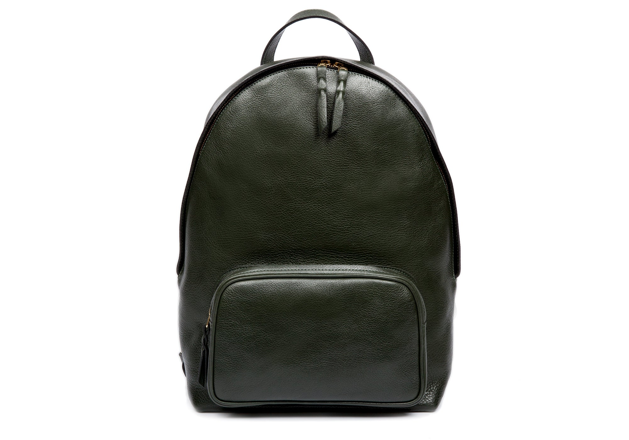 Leather Zipper Backpack Green