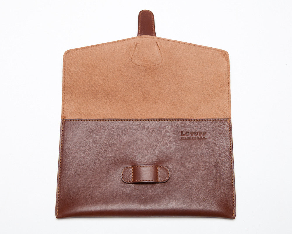 Front View Open of Leather iPad Mini Case Chestnut