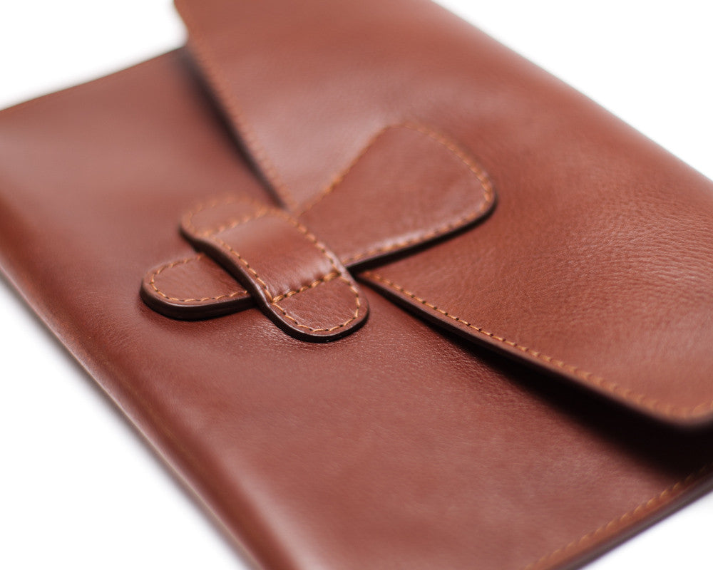 Closed Leather View with iPad of Leather iPad Mini Case Chestnut