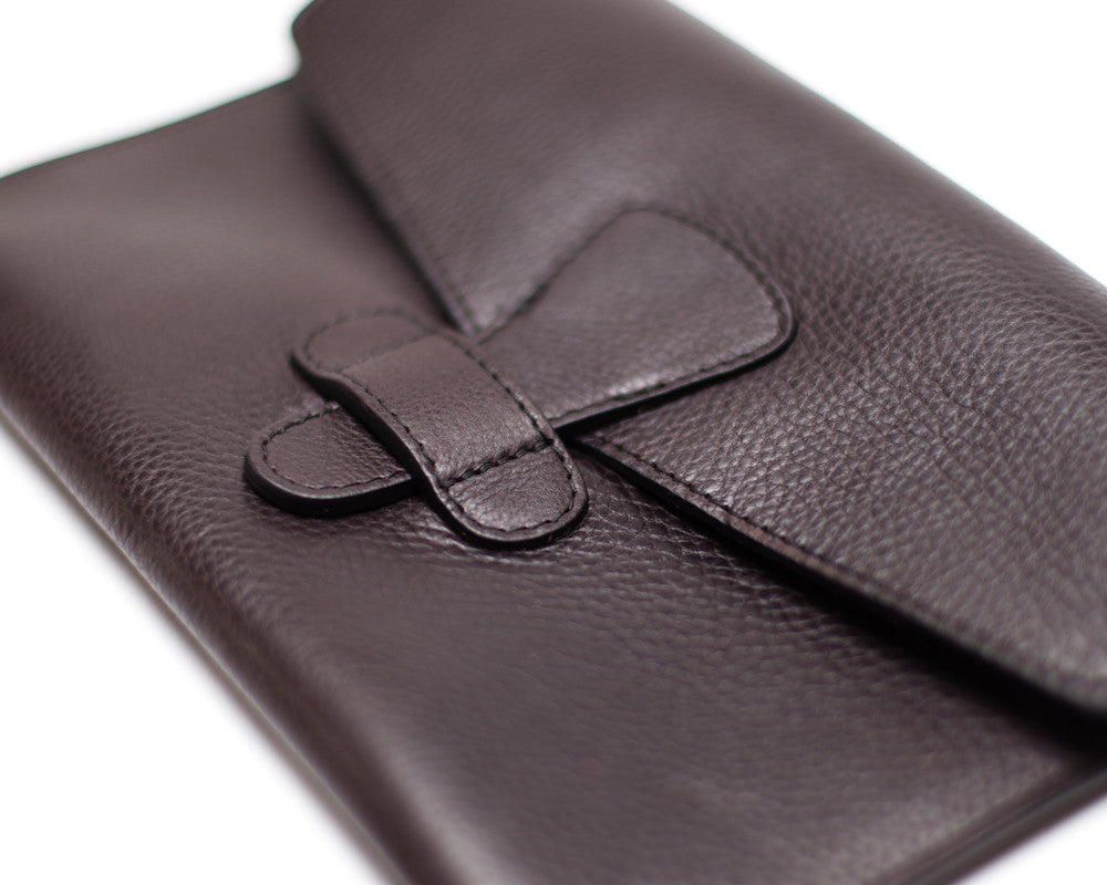 Front Closed View of Leather iPad Mini Case Chocolate