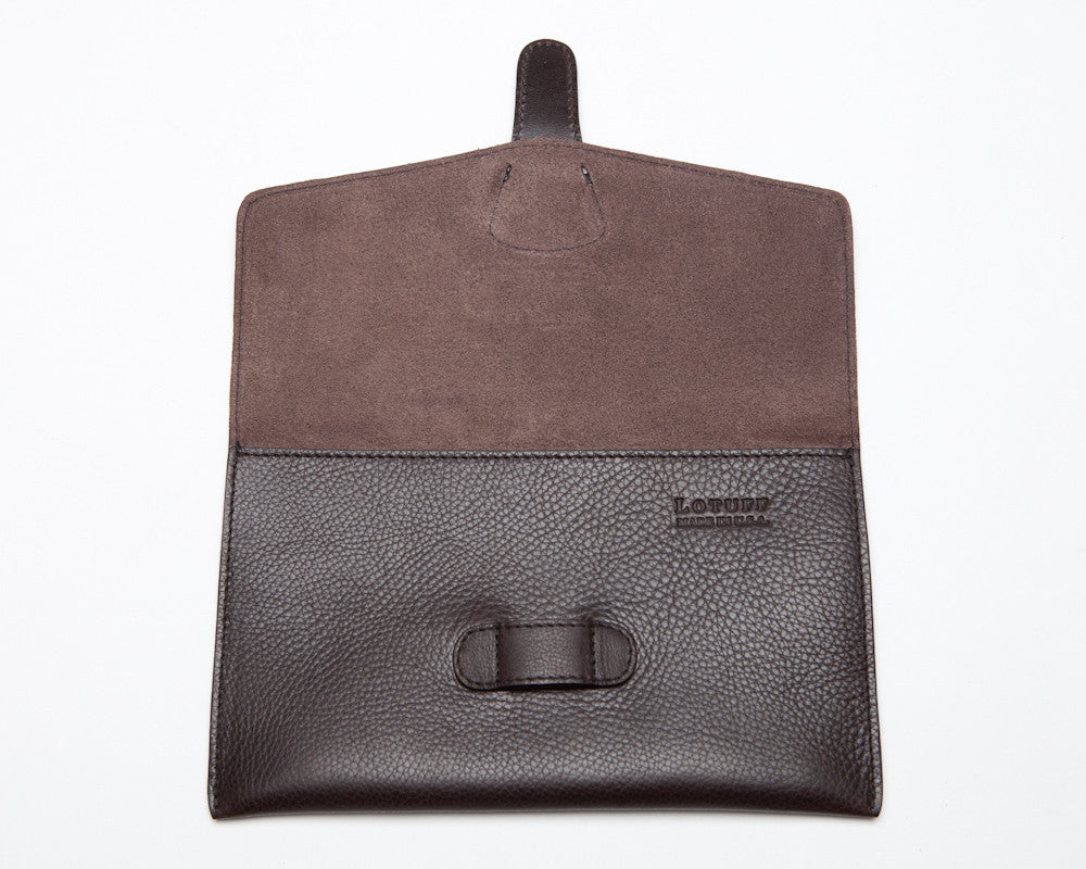 Front Open View of Leather iPad Mini Case Chocolate