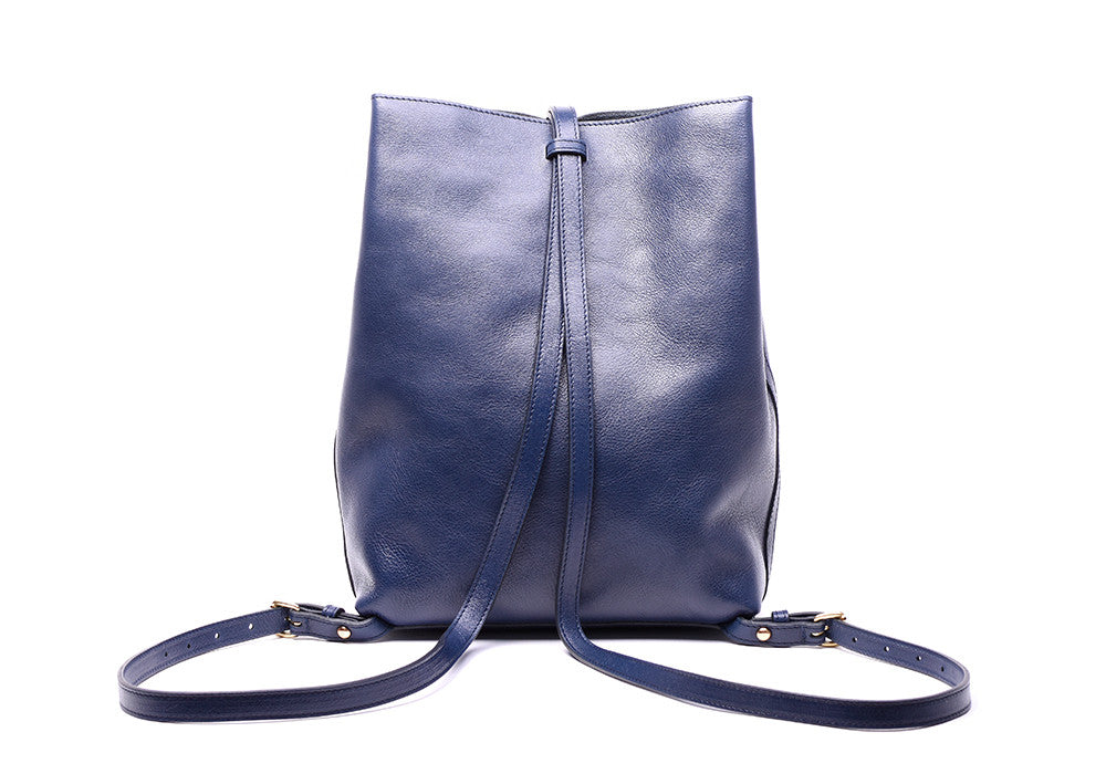 Back Leather Straps of The Sling Backpack Indigo