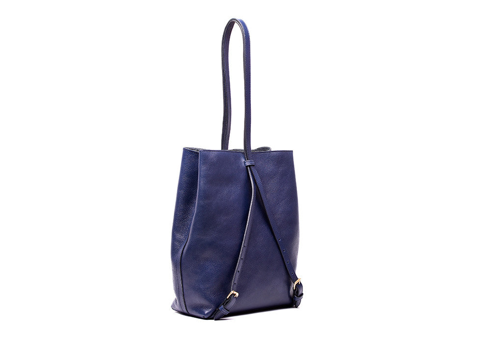 Top Leather Strap of The Sling Backpack Indigo