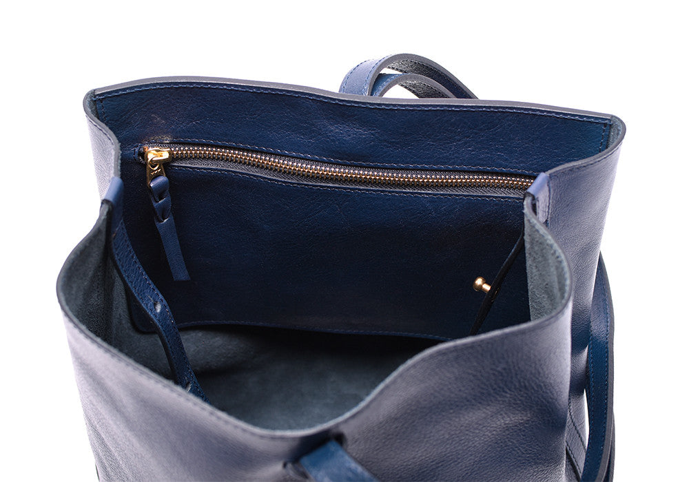 Inner Leather Pocket of The Sling Backpack Indigo