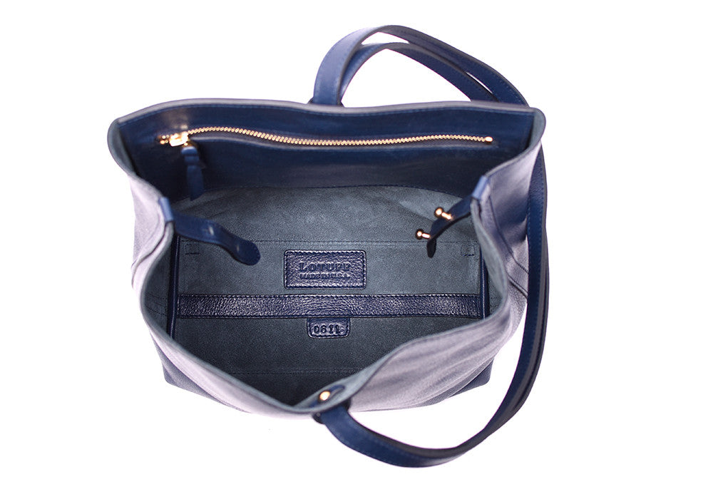 Inner Leather View of The Sling Backpack Indigo