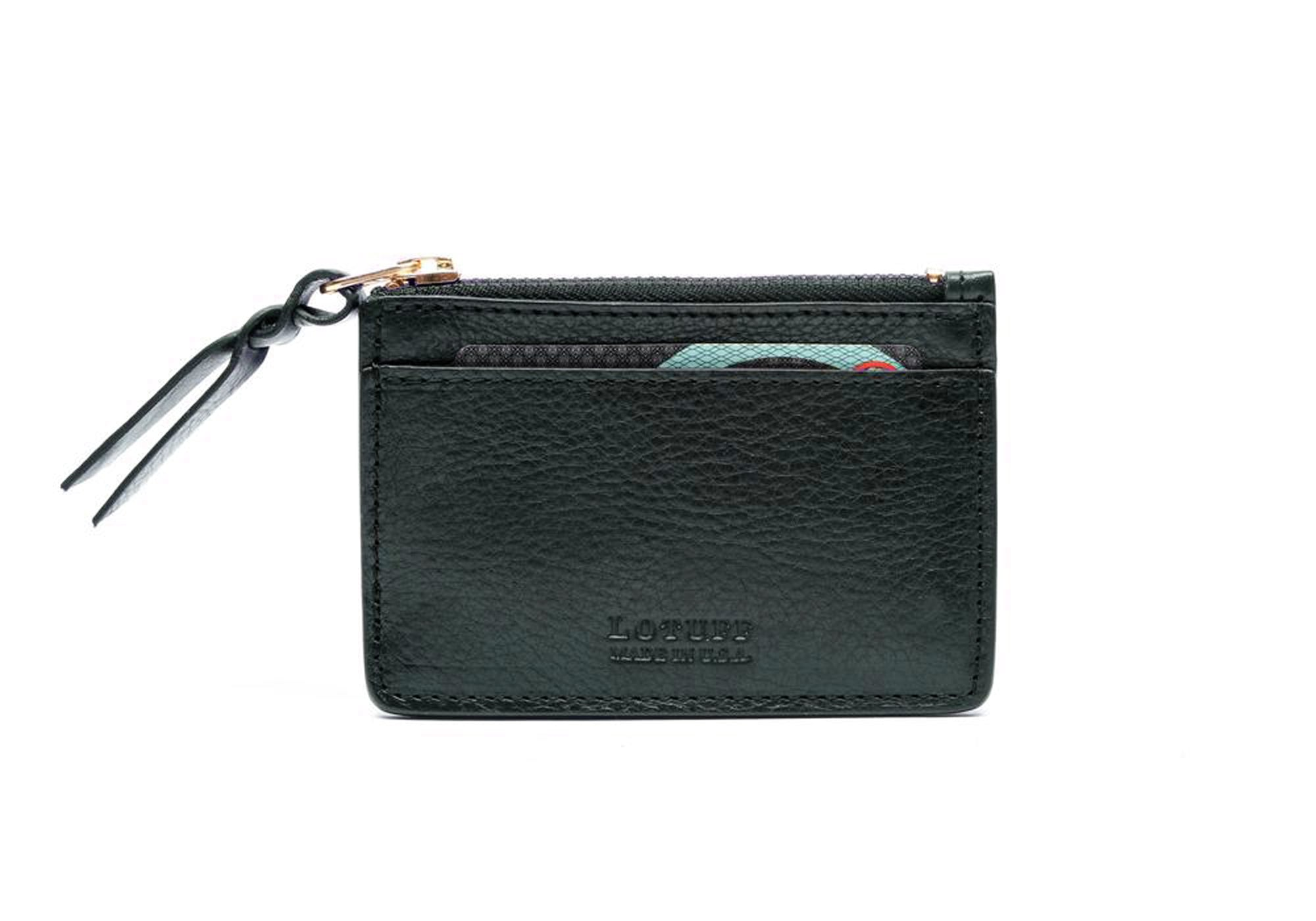 Zipper Credit Card Wallet Green