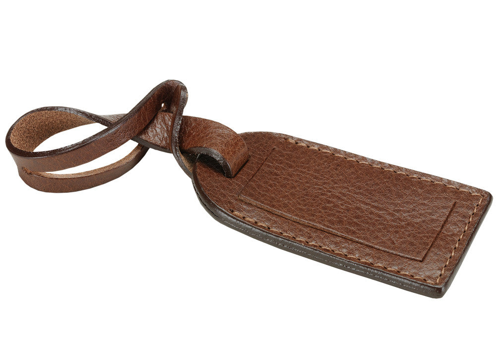 Front Leather View of Leather Luggage ID Tag Chestnut