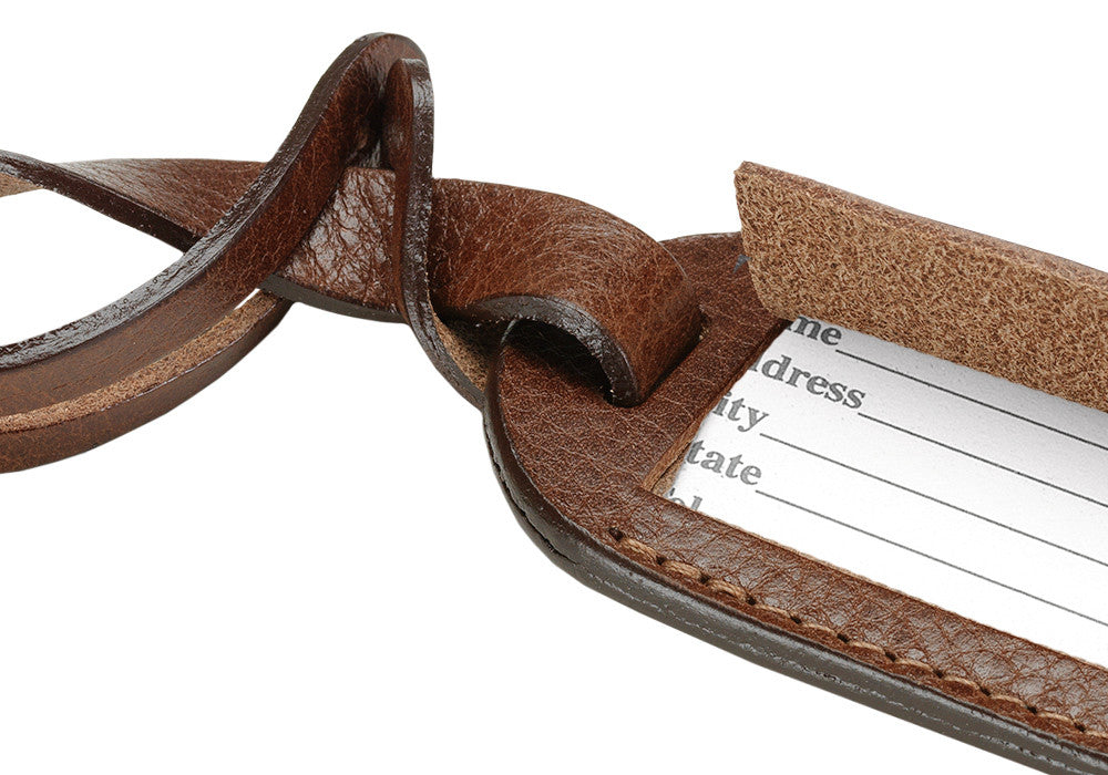 Close Up View of Leather Luggage ID Tag Chestnut