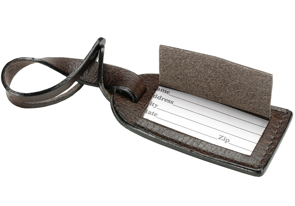 Leather Luggage ID Tag Chocolate