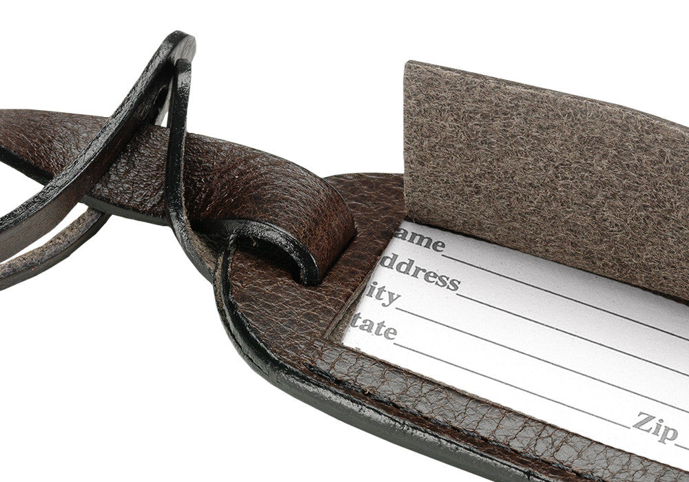 Close Up View of Leather Luggage ID Tag Chocolate