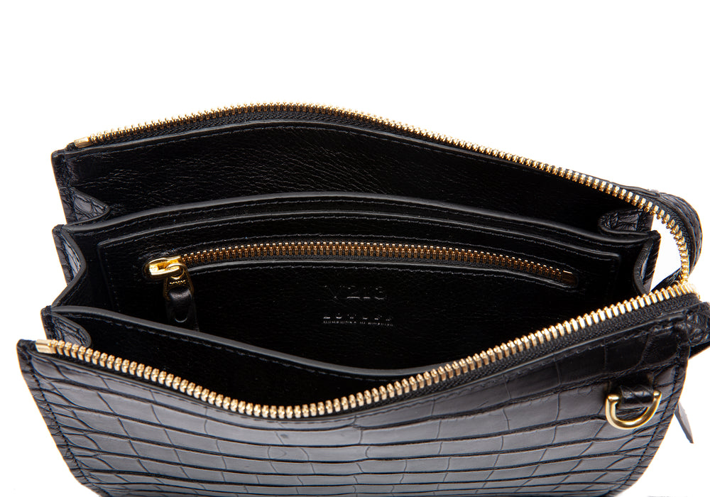 One-of-a-Kind Black Bridle Lock Briefcase Black Bridle