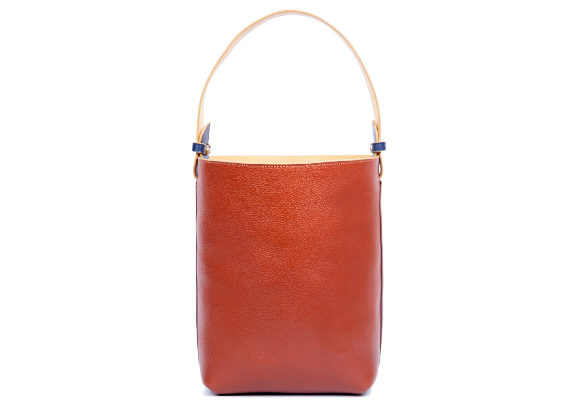 Leather Bucket Shoulder Bag Chestnut-Saddle Tan