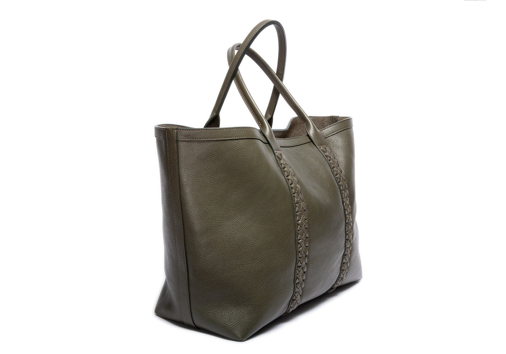 Braided Leather Working Tote Olive