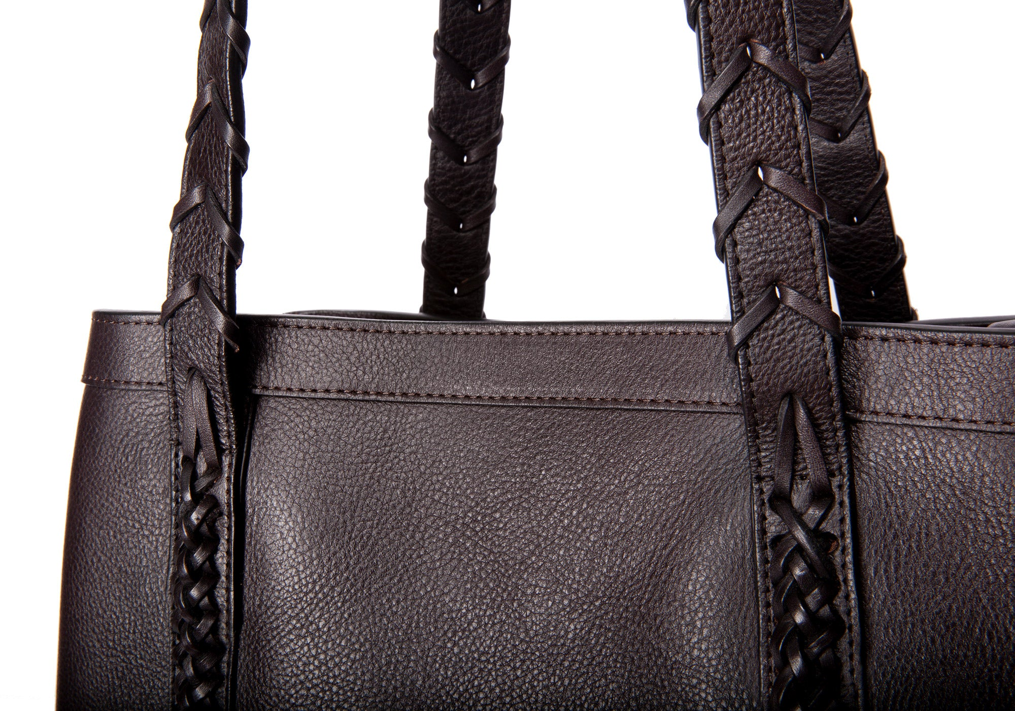 Braided Leather Angle Tote Chocolate