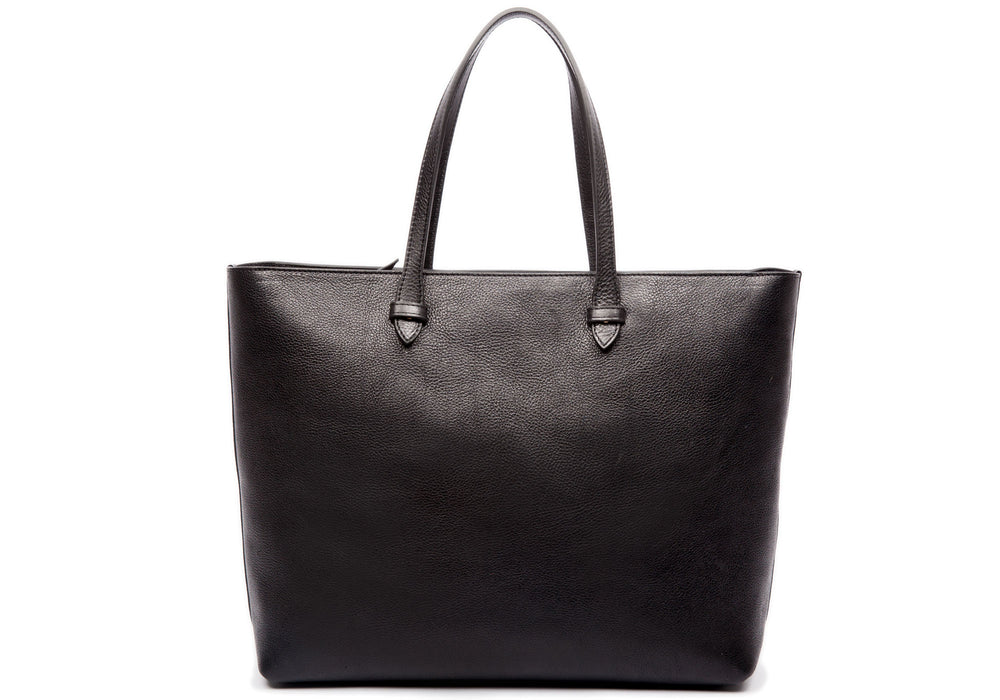 Front Leather View of No. 12 Leather Tote Black