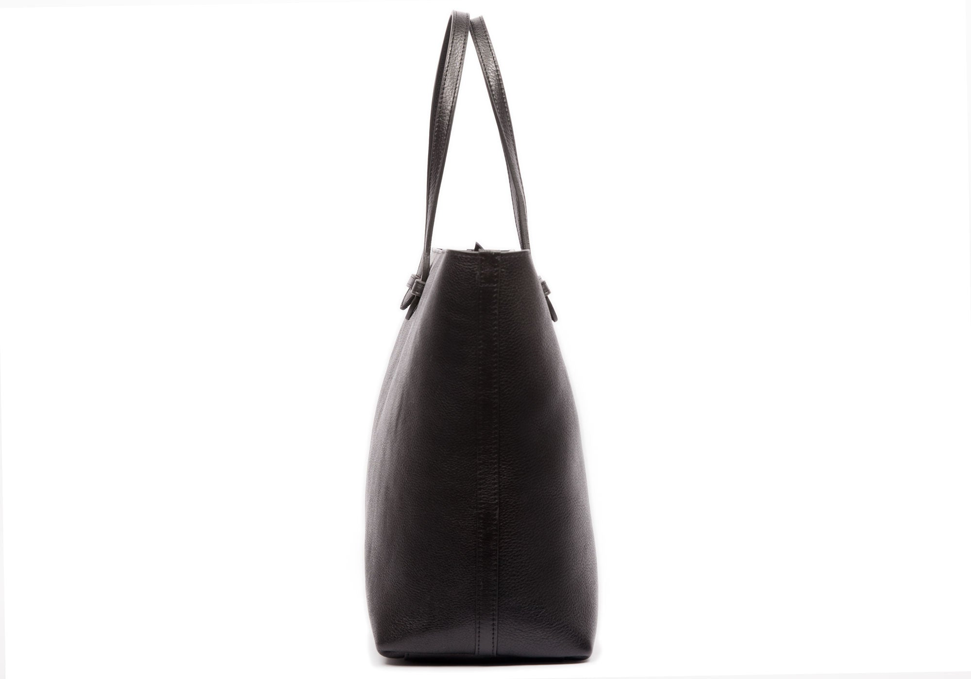 Side View of No. 12 Leather Tote Black