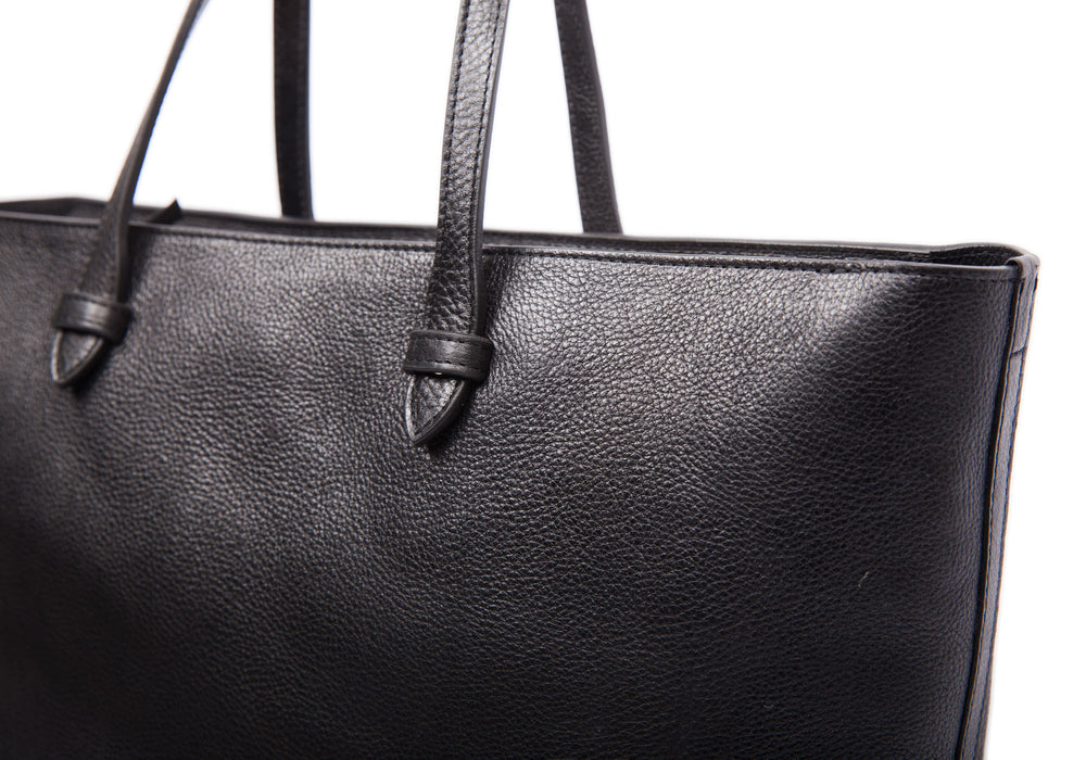 Front Leather Strap of No. 12 Leather Tote Black