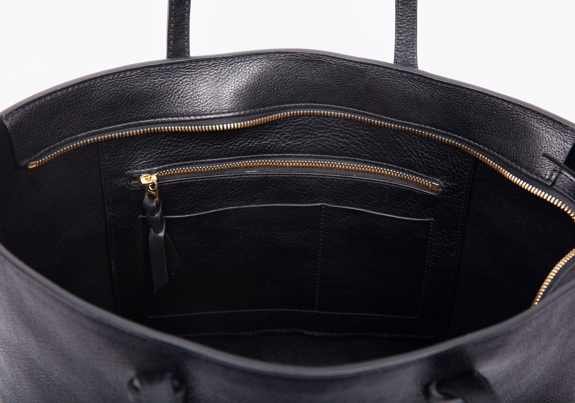 Inner Leather View of No. 12 Leather Tote Black