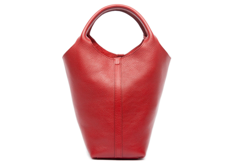 Front Leather View of The One-Piece Bag Red