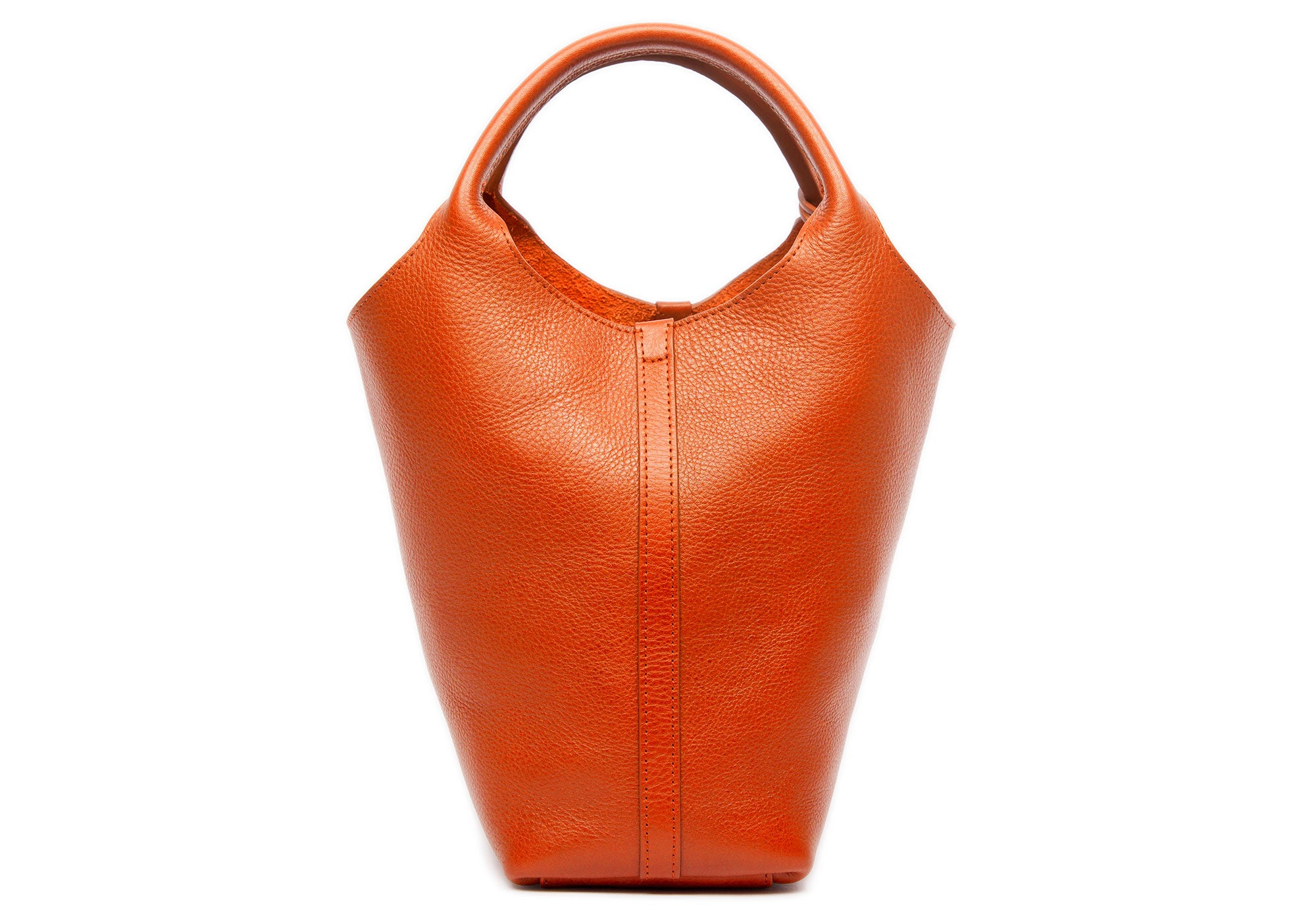 Front Leather View of The One-Piece Bag Orange