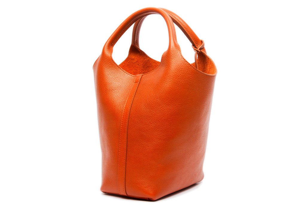 Side Leather View of The One-Piece Bag Orange