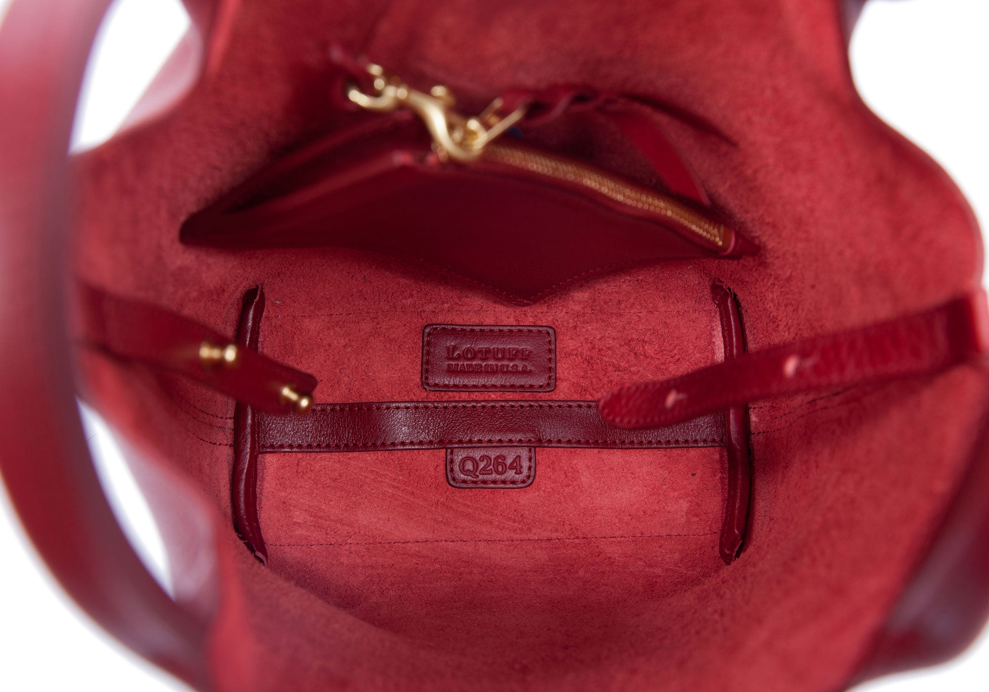 Inner Leather View of The One-Piece Bag Red