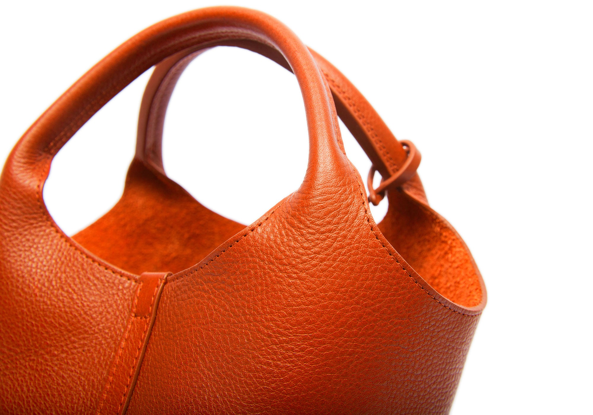 Top Leather Handle of The One-Piece Bag Orange