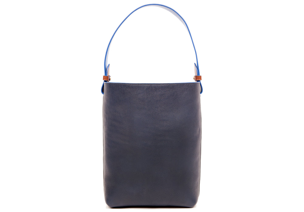 Leather Bucket Shoulder Bag Black-Indigo