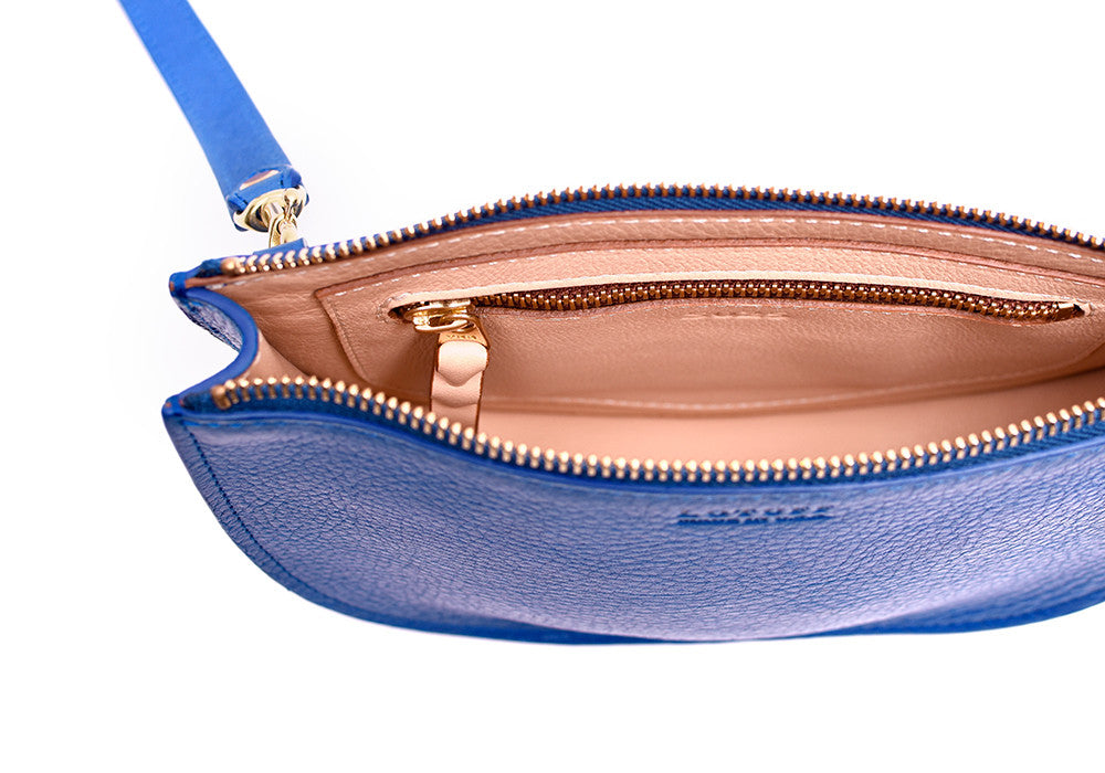 Inner Leather View of The Mini Luna Electric Blue-Natural