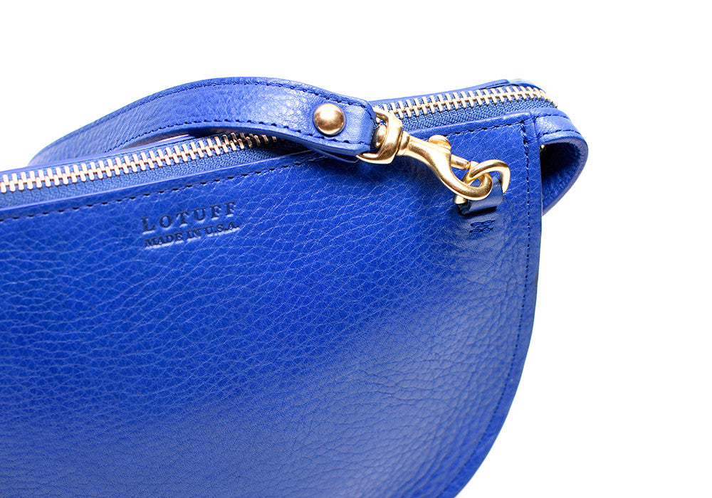 Leather Strap of The Mini Luna Electric Blue-Natural