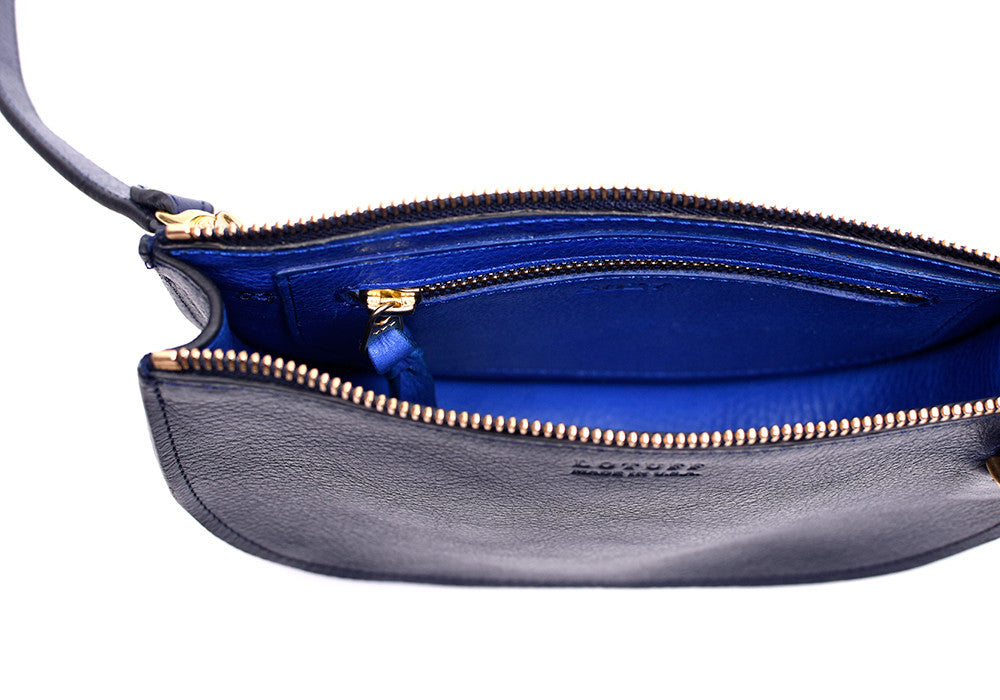Inner Leather View of The Mini Luna Indigo-Electric Blue