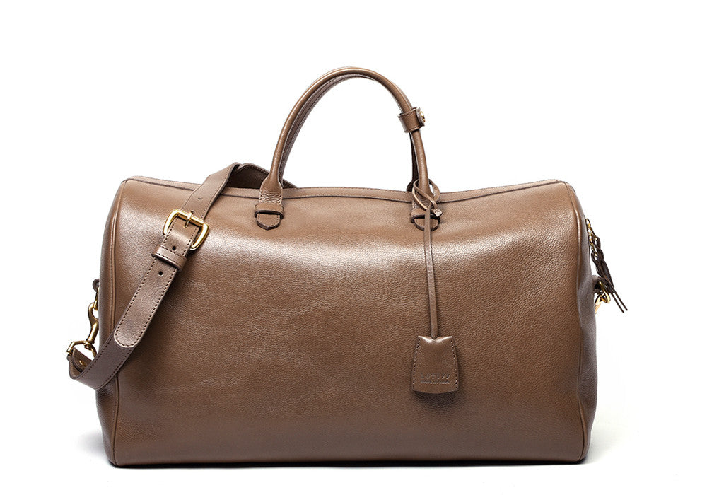 Front Leather View of No. 10 Weekender Bag Clay