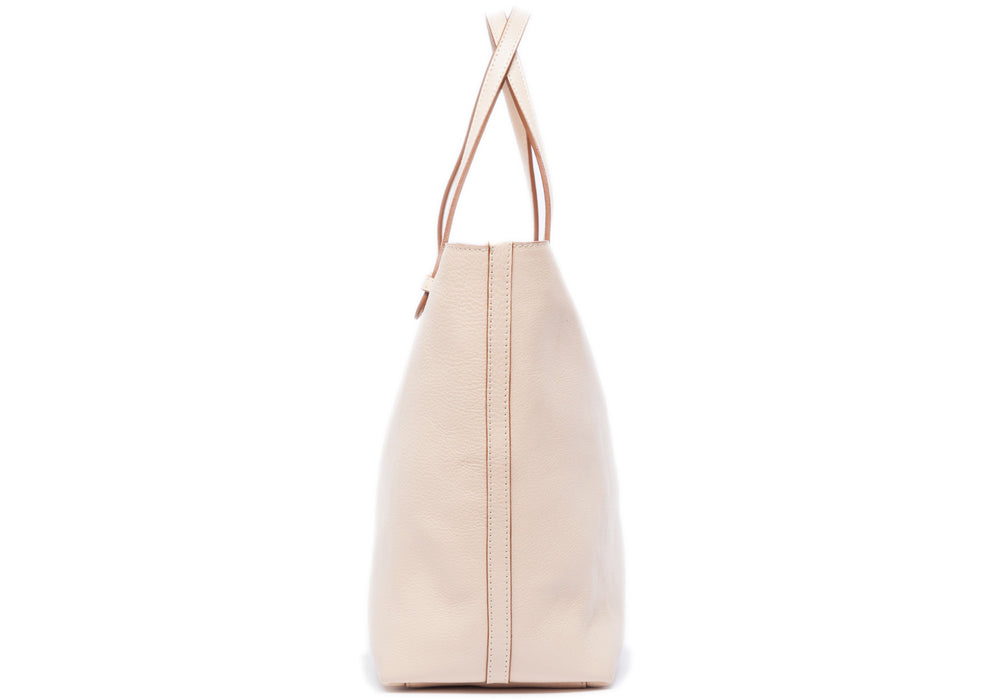 Side View of No. 12 Leather Tote Natural