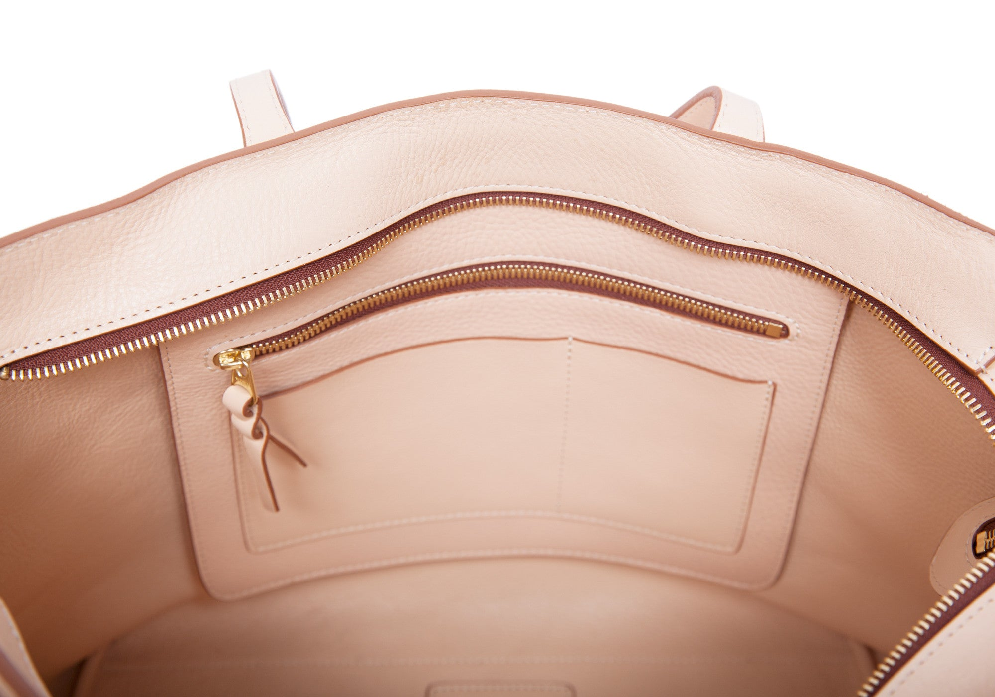 Inner Leather View of No. 12 Leather Tote Natural