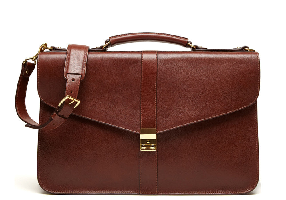 Leather Lock Briefcase Chestnut|Front Leather View