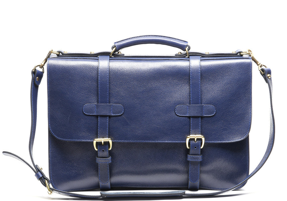 English Briefcase Indigo|Front Leather View