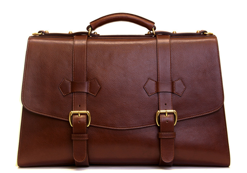 Leather Satchel Chestnut|Front Leather View