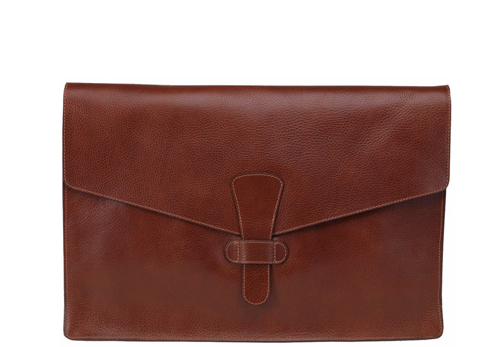 "Front View of 15"" Leather Folder Organizer Chestnut"